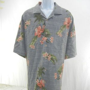 Tommy Bahama Silk Shirt Men's XXL Floral Camp